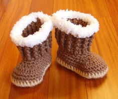 Crochet Baby Boots - Baby Snuggly Snug Boots - Beige, Brown and White Boots - Newborn Photo Prop - Baby Hiking boots on Etsy, $18.00