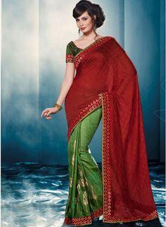 Attractive Maroon & Green #Saree With Zari Work #womenfashion #clothing