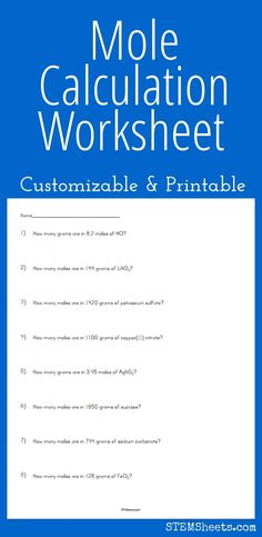 Mole Calculation Worksheet - Customizable and Printable