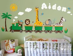 Personalized Safari Train Wall Decal Jungle Animals Train Wall Decal Monkey Giraffe Elephant Lion Zebra Nursery Kids Playroom Room Sticker