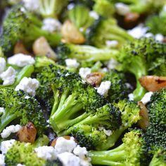 Roasted Broccoli and Garlic with Creamy Feta and a Kick of Spoce - the Perfect Side Dish #healthy #broccoli #fallfest