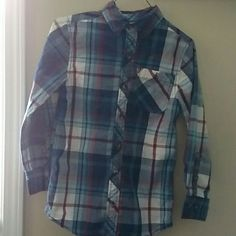 Boys button up plaid shirt Only worn a couple times, in great condition! Size BOYS 10/12 Arizona Jean Company Tops Button Down Shirts