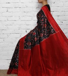 Black & Red Silk Ikat Saree