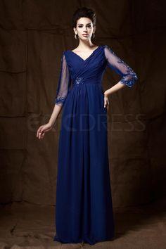 V-neck Cropped Sleeve Floor--length 3/4 Sleeved Mother of the Bride Dress Mother of the Bride Dresses 2014- ericdress.com 9672653