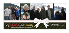 Custom Holiday Photo Cards : Joy Peace Love Family. Super cute, eye catching holiday card with customizable photo options. Your photos printed on thick recycled cardstock, paired with a seed paper ornament that is packed with wildflower seeds that your friends and family can plant after they hang it from the tree. Just send your high-res photos