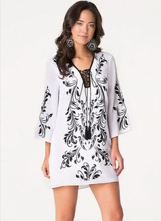 Polyester Floral 3/4 Sleeves Mini Casual Dresses (1955098808)