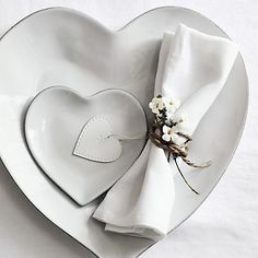 Stoneware Heart Plate - Large | The White Company