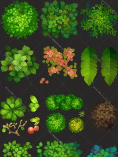 Hand-Painted Game Textures - Plants, Flowers and Foliage Game Design, Game Level Design, Map Painting, Texture Painting, Environment Concept Art, Environment Design, 2d Game Art, Game Textures, Hand Painted Textures