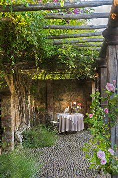 Tuscany :: pergola I love patios and pergolas! Outdoor Rooms, Outdoor Gardens, Outdoor Living, Outdoor Sheds, Wooden Pergola, Rustic Pergola, Steel Pergola, White Pergola, Outside Living