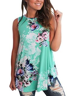 2424332c751 Dokotoo Womens Casual Summer Floral Sleeveless Tops and Blouse for Juniors  Tank Green Large  Dokotoo Womens Summer Casual Floral Print Sleeveless  Loose Tank ...