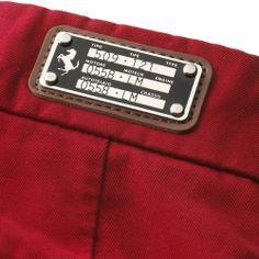 Men's Ferrari Cavallino Rampante Trousers #ferrari #ferraristore #RedDetails #cavallinorampante #trousers #prancinghorse #pure #cotton #metal #plate #redmaranello #rossoferrari #maranelloGT #madeinitaly #design #style #enthusiast #musthave #class #gentleman #classy