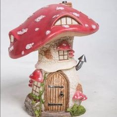 This traditional red toadstool is very popular in the woods and has clearly made a lovely fairy house. Other toadstool cottages also available; click h… Clay Fairy House, Gnome House, Fairy Garden Houses, Fairy Gardens, Mushroom House, Clay Fairies, Free To Use Images, Fairy Garden Accessories, Fairy Doors