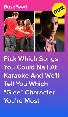 """Pick Which Songs You Could Nail At Karaoke And We'll Tell You Which """"Glee"""" Character You're Most Glee Quizzes, Quizzes For Fun, Glee Tattoo, Glee Cast, It Cast, Buzzfeed, Mike Chang, Boyfriend Quiz, Glee Memes"""