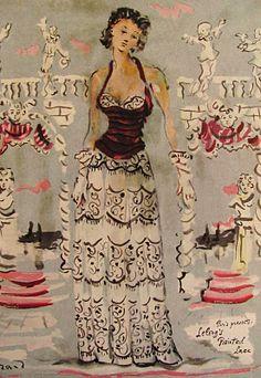 Robe de Lelong illustration par Christian Bérard 1940)