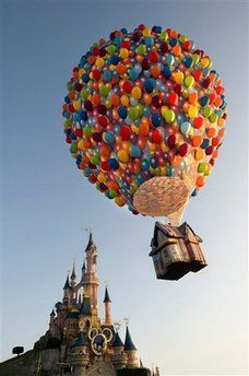 """This hot air ballon was released in Paris Disneyland theme park in Marne La Vallee to promote the the movie """"UP."""" In this picture the balloon is taking off near the Sleeping Beauty Castle. Disney Up, Hades Disney, Disney Dream, Disney Love, Disney Magic, Disney Parks, Walt Disney, Disneyland Paris, Disneyland Resort"""