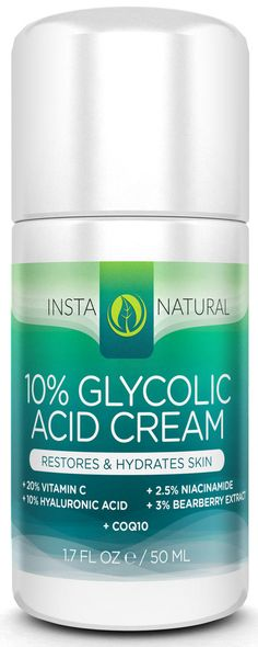 InstaNatural's Glycolic Acid Cream offers superior hydration and exfoliation for the skin. Glycolic Acid is a gentle alpha hydroxy acid (AHA) that helps to cleanse pores, reduce signs of aging and restore moisture to rough, dry and sun-damaged skin. Vitamin C, another active ingredient, synergizes with the Glycolic Acid to both soften and nourish the skin for an even, brighter, more radiant glow.