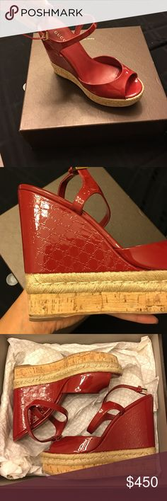 RED PATENT LEATHER GUCCI WEDGE Red Gucci Patent Leather Wedge, Cork outer layers Gucci Shoes Wedges