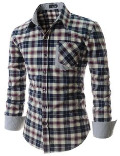 ShowBlanc SBCHS1098 Man's Checkered Pocket Patched Long Sleeve Cotton shirt at Amazon Men's Clothing store: