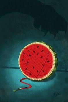 Yarnmelon by The-Coconut-God on DeviantArt Diy Dixit Cards, Children's Book Illustration, Digital Illustration, Game Pieces, Surreal Art, Cool Artwork, Cute Art, Illustrations Posters, Concept Art