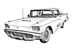 Classic 1958 Ford Thunderbird car digital illustration poster print.