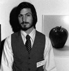 Steve Jobs with an apple(1970s).