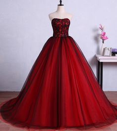 Wedding Dress Ball Gown Red and Black Evening Dresses Saudi Style Strapless Evening Gowns Sexy Illusion Lace Ball Gown Puffy Wedding Party Dresses Red Ball Gowns, Tulle Ball Gown, Ball Gowns Prom, Tulle Prom Dress, Party Gowns, Ball Dresses, Dress Party, Chiffon Dresses, Gown Dress