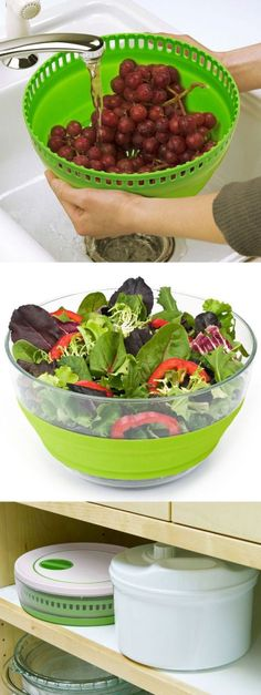 3in1 Space Saving Collapsible Salad Spinner // Use as Salad Bowl and Colander - Stores Flat