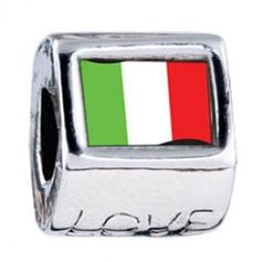 Italy Flag Photo Love Charms  Fit pandora,trollbeads,chamilia,biagi,soufeel and any customized bracelet/necklaces. #Jewelry #Fashion #Silver# handcraft #DIY #Accessory