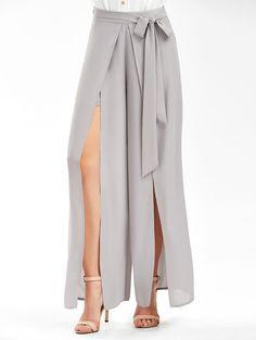 rosegal - Tie Belt High Slit Wide Leg Pants - Light Gray