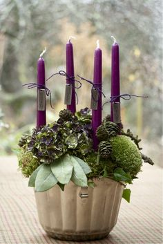 Simple Abundance shares gorgeous advent candles you can easily create and light each week to enjoy more peace, joy and more this season. Purple Christmas, Winter Christmas, Christmas Time, Xmas, Christmas Advent Wreath, Christmas Crafts, Christmas Decorations, Holiday Decor, Advent Wreaths