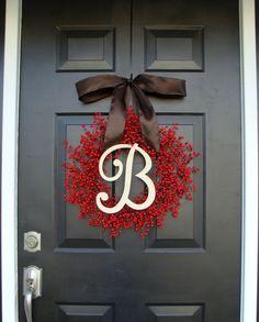 Berry Wreath Etsy Fall Wreath- Monogram Wreath- Christmas Wreath- Winter Holiday Wreath- Valentine's Day Decor- WEATHERPROOF Berries on Etsy, $85.00