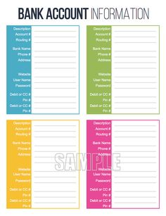 Bank Account Information Printable - EDITABLE - Personal Finance Organizing pdf . Credit Score, Credit Cards, Credit Rating, Chase Credit, Build Credit, Financial Binder, Financial Assistance, Credit Card Design, Household Binder