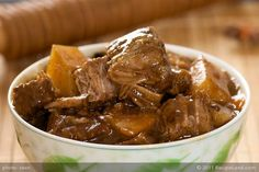 Chunks of beef slowly braised in an authentic Chinese manner. Nearly any tough cut of beef can be made magically tender and flavorful with this technique.