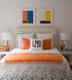 bedrooms - David Hicks La Fiorentina Fabric West Elm Parson Table light gray headboard orange throw orange velvet pillows monogrammed pillow tapered silver lamps