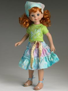 "Manufacturer's catalog image of 14"" vinyl Betsy McCall doll wearing separate Smart Art outfit, United States, 2006, by Robert Tonner."