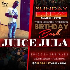 SUNDAY FUNDAY 🇺🇸🇺🇸🇺🇸 HAPPY BIRTHDAY JUICE JULA 🎉🎉🎉 Party with #JUICEJULA #WeAreStreetVibes #Fam Sunday - March 19, 2017 - #streetvibesmusic #JuiceJulaBirthdayBash #RickB #RickBTheBusiness #SkyTheGoddess #JuiceJula #GlashandaLewisB #Houston #Texas #Wearestreetvibes