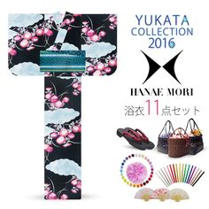 2016 Summer Hanae Mori Yukata Red Cosmos Black 11 items set