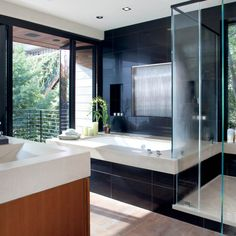 Kick back, relax and enjoy our spa bathroom. All the luxuries of a spa combined with the wonders of nature.  #waypointlivingspaces #kitchencabinets #cherryspice Maple Cabinets, Cherry Cabinets, Kitchen Remodeling Contractors, Bathroom Spa, Hotel Bathrooms, Bathroom Ideas, Black Tiles, Kitchen And Bath Design, Room Interior