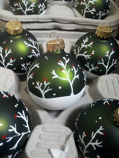 Handpainted Ornaments 4 pack by Trash2Trish on Etsy, $28.00 Darcy777 -  If I was crafty, not disabled and could find the right color balls, which I never can, I'd make these for my tree.