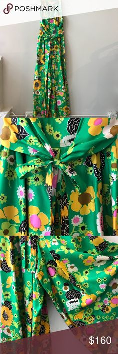 """Green Floral 1960's Romper 1960's long green polyester floral romper   Approximate measurements when laid flat: B: 19"""" L: 57""""  AMC3633-87 Pants Jumpsuits & Rompers"""