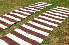 Painted Striped Burlap Curtains