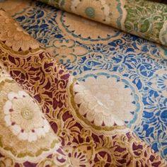 Kiku, reinterpreted from a 19th century Japanese futon cover - www.suzannetuckerhome.com