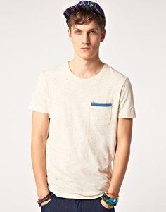 Agrandir ASOS - T-shirt en tissu moucheté avec bande contrastante sur la poche