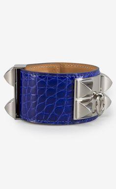 Hermès Electric Blue Alligator Collier de Chien CDC Silver Cuff Bracelet    VAUNTE bb3072912d5