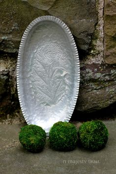 Aluminum Oval Serving Tray w Embossed Mum by NorthMajestyTrail