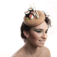 sushi and chopsticks cocktail hat, fascinator https://www.etsy.com/il-en/shop/MaorZabarHats?ref=si_shop