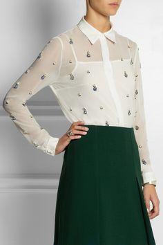 Erdem|Sloane crystal-embellished silk-georgette shirt|NET-A-PORTER.COM