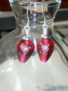 Red Czech Lamp Work Glass Beaded Hook Earrings #etsy  #gifts