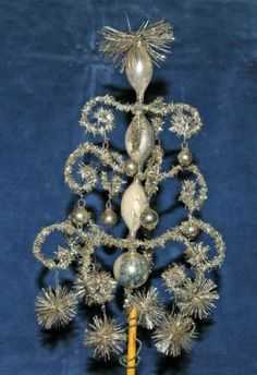 Rare Early Antique Christmas Tinsel & Glass Feather Tree Topper Top Ornament