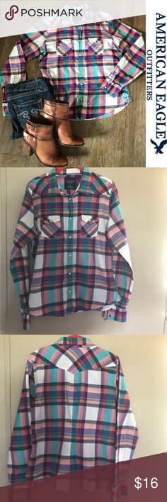 """American Eagle Multi Color Plaid Button Up L American Eagle Outfitters 🦅 Size Large. Worn about 6 times. Shows normal signs of wash and wear. Armpit to armpit is approx 21"""" and from top of shoulder to hem is approx 25.5"""". Buttons are actually snaps! Such a fun colorful shirt! This shirt is sure to brighten up any outfit and make it pop! American Eagle Outfitters Tops Button Down Shirts"""